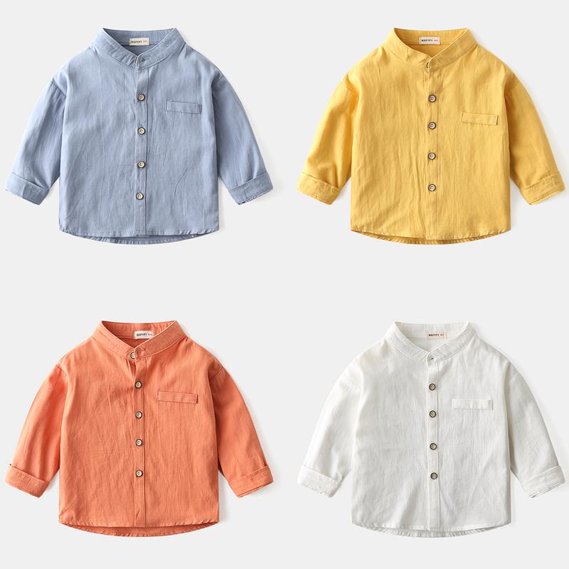 男童长袖衬衫 2020春季新款纯棉童装宝宝衬衣韩版儿童立领衬衫潮3