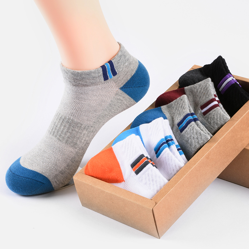 5 pairs of pure cotton mens breathable socks summer mesh cotton sweat absorbing socks short tube shallow mouth invisible boat socks