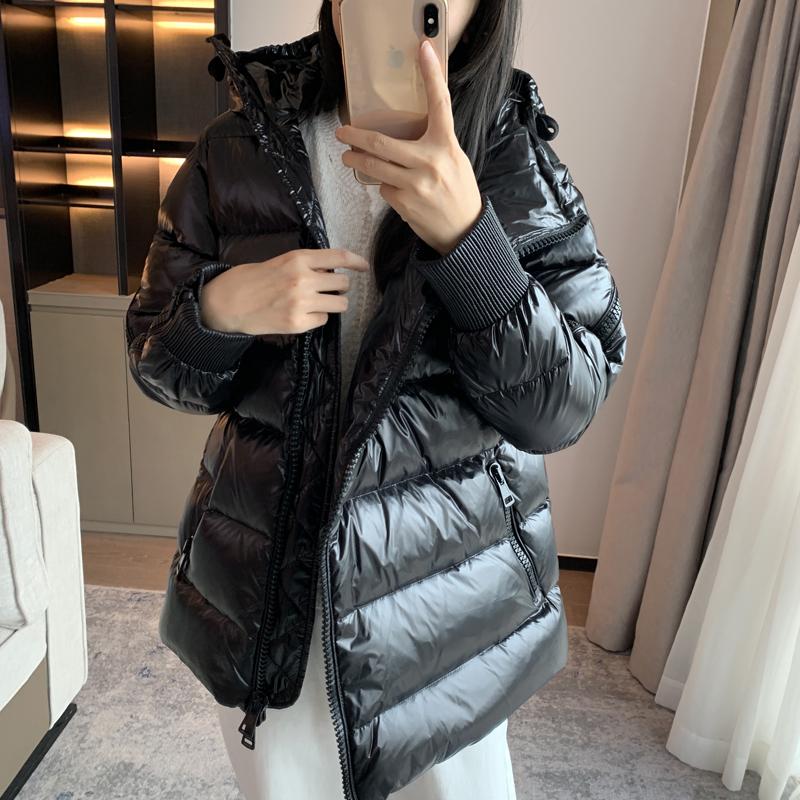 MONCERDON蒙口盾黑色中长款白鹅绒女士加厚宽松羽绒服外套衣冬季