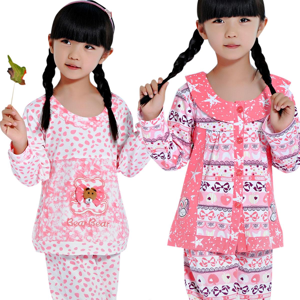 儿童睡衣长袖女童春夏季童装纯棉套装宝宝母女亲子家居服舒露宝