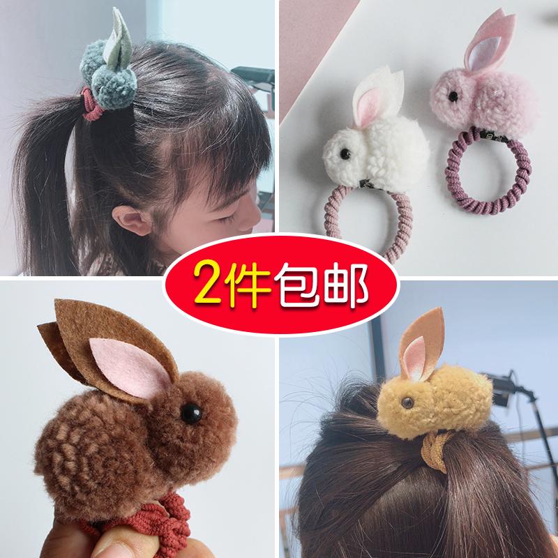安吉拉儿童发饰兔子耳朵发圈毛绒发绳韩国宝宝可爱立体羊羔绒发夹9.80元包邮