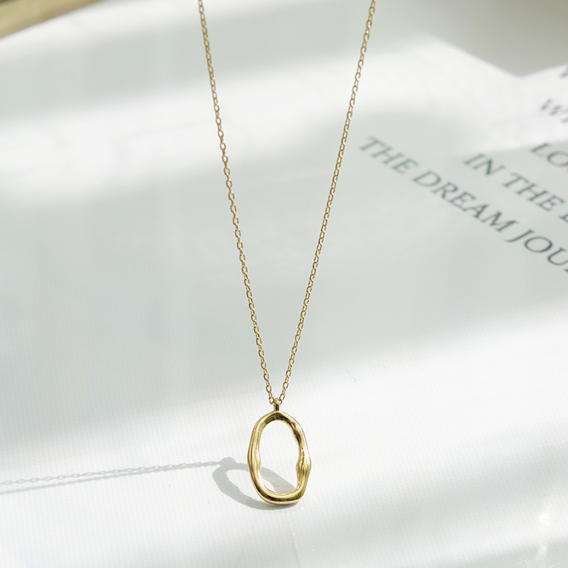 Chuner | geometric irregular hollow S925 silver ins design personalized gold clavicle chain necklace female