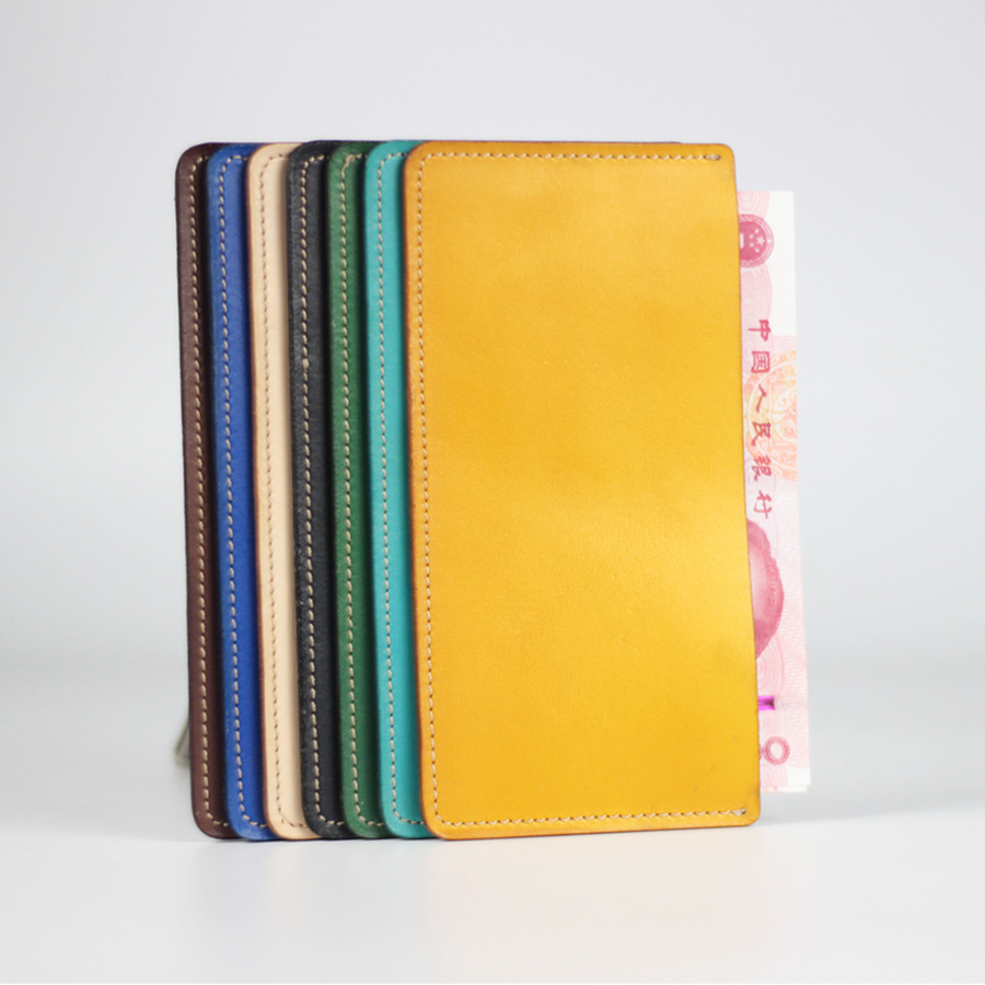 Vegetable tanned leather leather mens and womens simple large bill holder Japanese style check holder layer cow leather long Ultra Thin Wallet