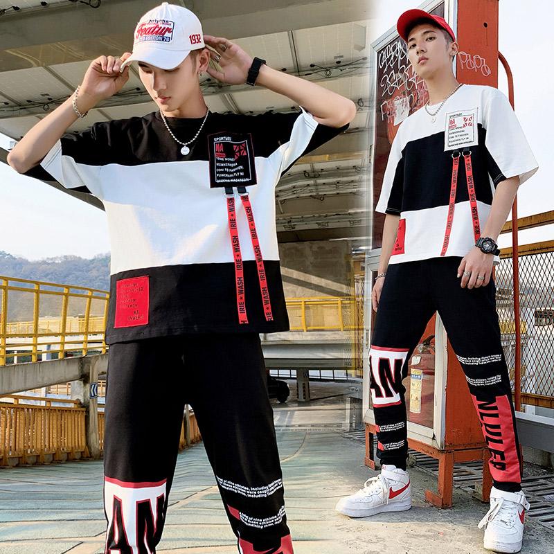 2019套装男韩版青少年春季新款T恤连帽中袖休闲卫衣两件套D637P68