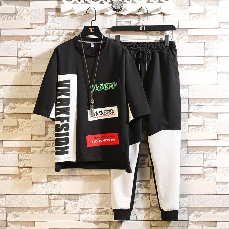 潮流2019新款嘻哈宽松短袖T恤学生帅气两件套装运动服D638P68