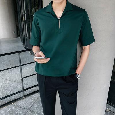 垂感一粒扣翻领宽松套头男士中袖衬衫 S84/P60 绿