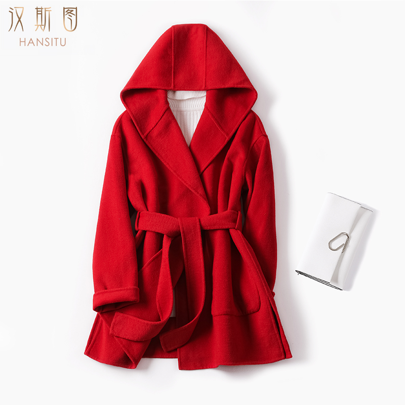 Off season special price autumn and winter 2020 double faced wool coat womens long Hepburn small hooded wool coat