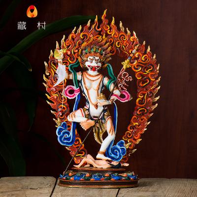 藏村 尼泊尔手工12寸纯铜鎏金彩绘密宗佛像摆件狮面空行母佛像