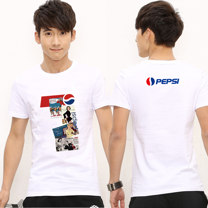 Pepsi co branded couples short sleeve t-shirt mens and womens T-shirt Coca Cola pattern clothes mens half sleeve summer cotton T-shirt