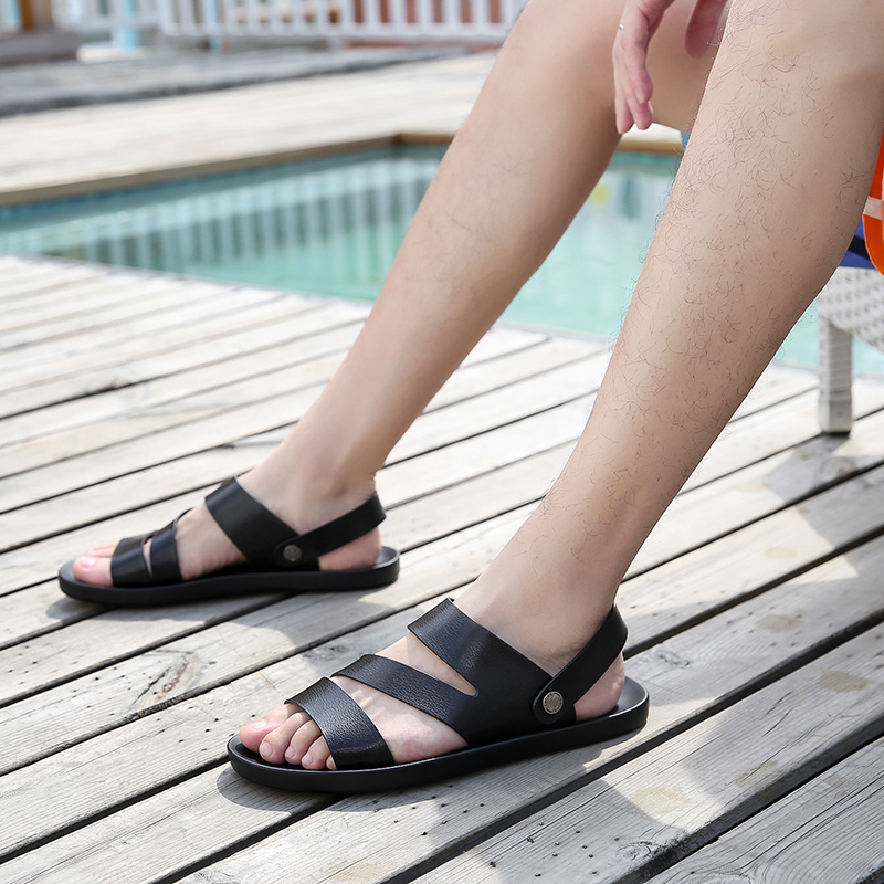 Leather slippers mens driving beach shoes youth seaside holiday sandals antiskid soft wear resistant rubber summer