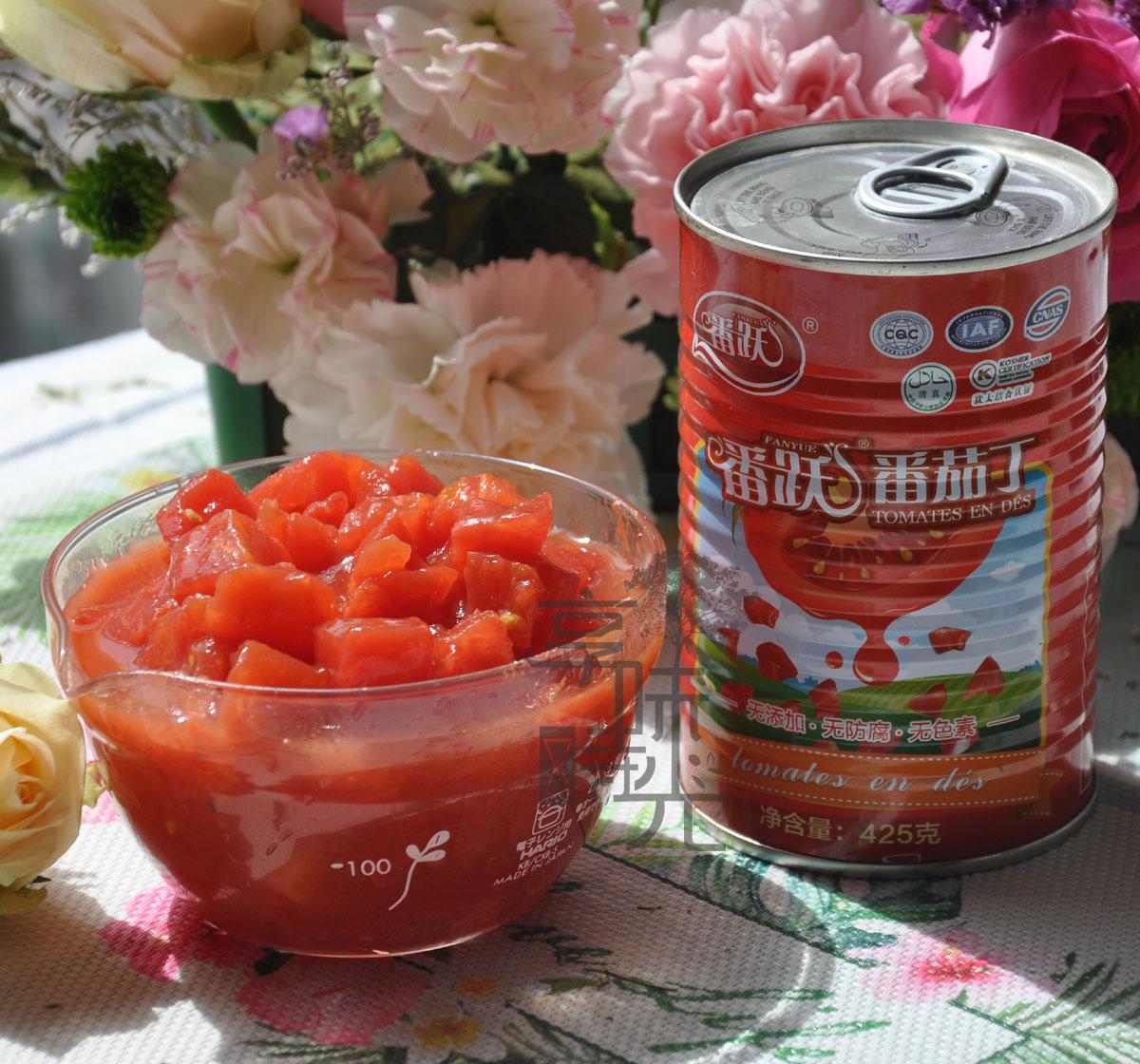 纯天然去皮番跃新鲜新疆番茄西红柿丁17年9月生产无糖无添加425g