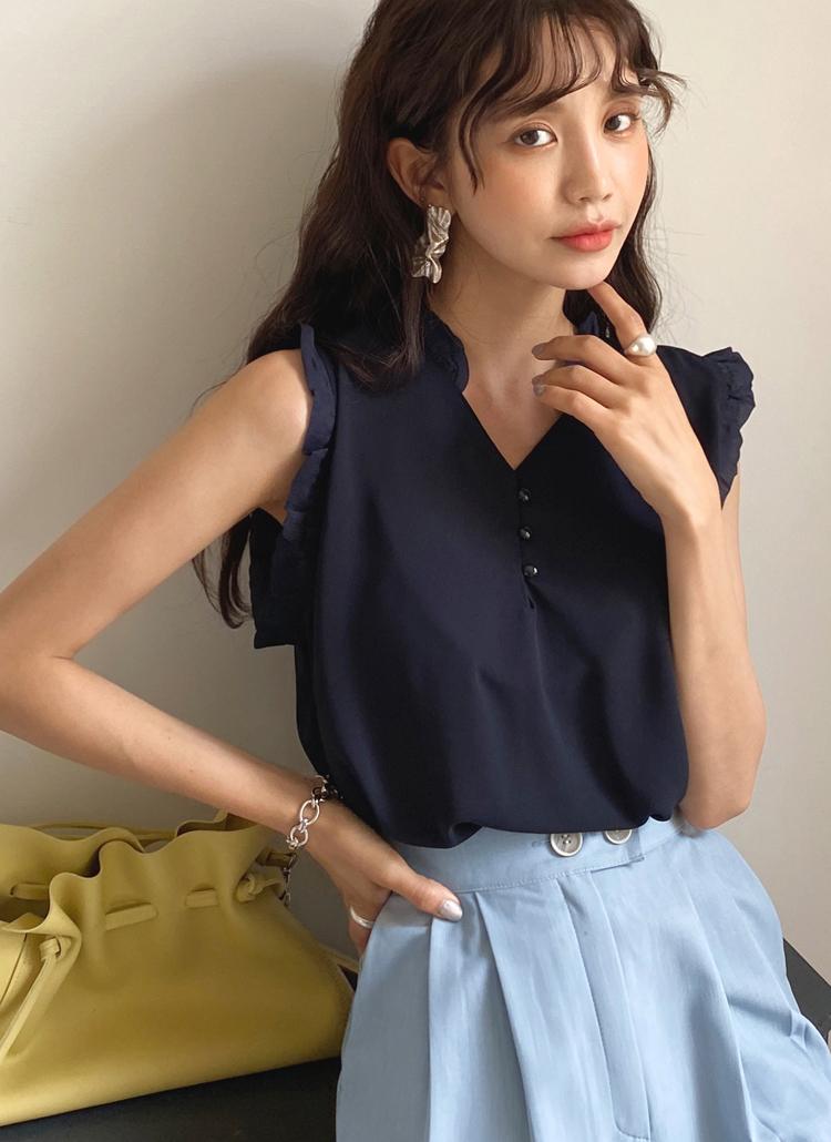 20夏6月新款日本DHOLIC代购褶裥花边袖口V领罩衫全3色-t56335