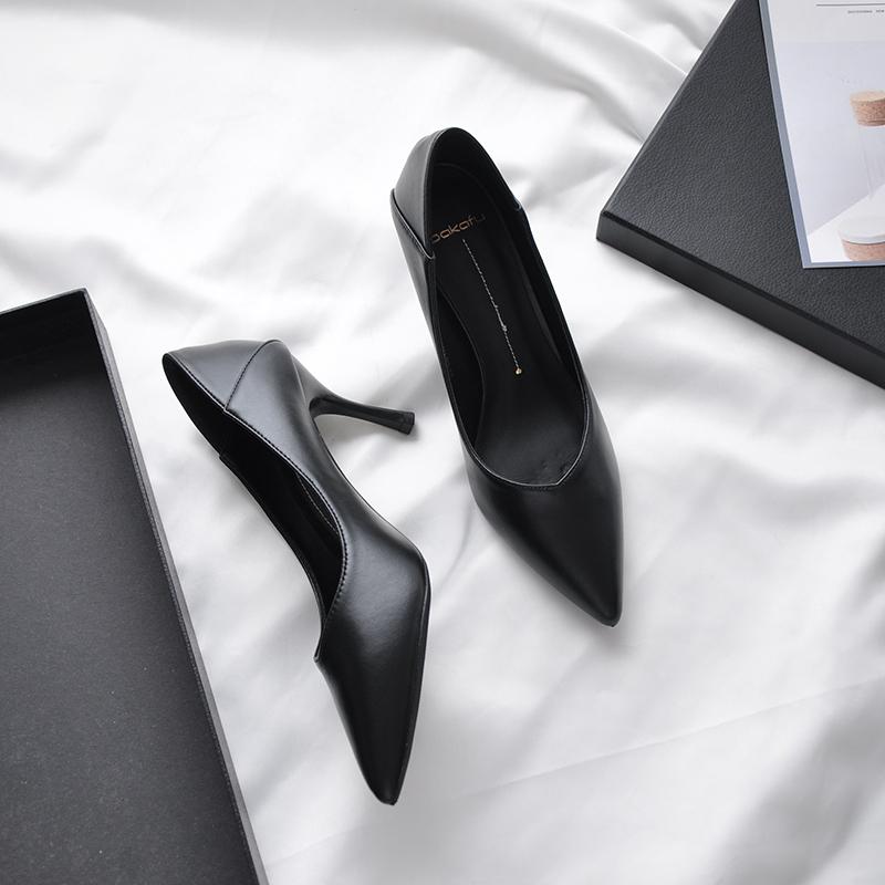 V口软皮高跟鞋不磨脚黑色女细跟尖头通勤哑光职业单鞋工作鞋5cm