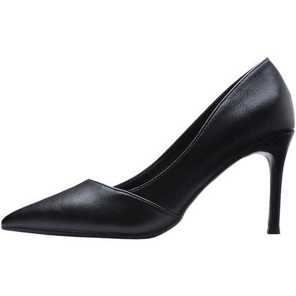 羊皮哑光职业女黑色细跟ol高跟鞋