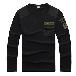 Outdoor Army fans fitted long sleeved t shirt men s round neck long sleeved cotton dress tough tactical loose T shirt