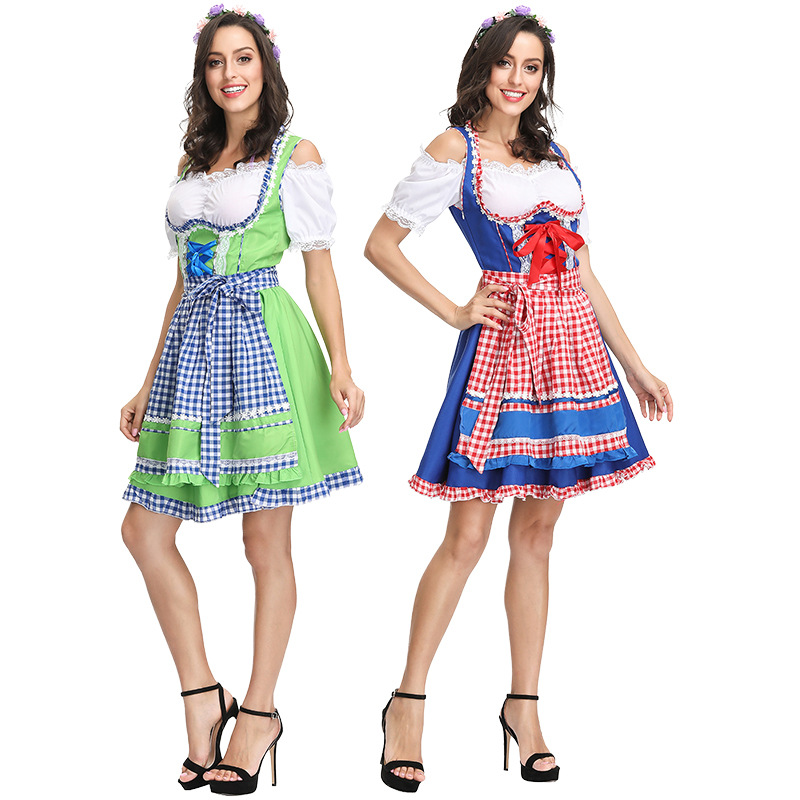 Beer Festival new clothing German Beer Festival carnival costume two color Plaid beer suit bar suit