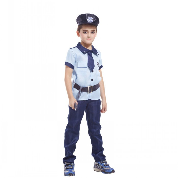 Childrens Day costume, Halloween boy, prop clothes, police role playing costumes