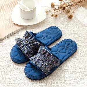 韩版布艺拖鞋女居家田园碎花木地板静音男款机洗手工布底懒人拖鞋