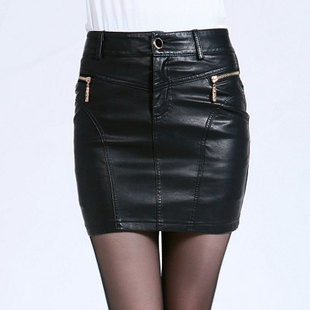 2015 spring new Women's Clothing was thin stitching leather skirt hip paragraph PU leather skirt leather skirt step skirt children