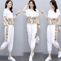韩版运动休闲套装女2020年新款气质洋气时尚女装夏天九分裤两件套