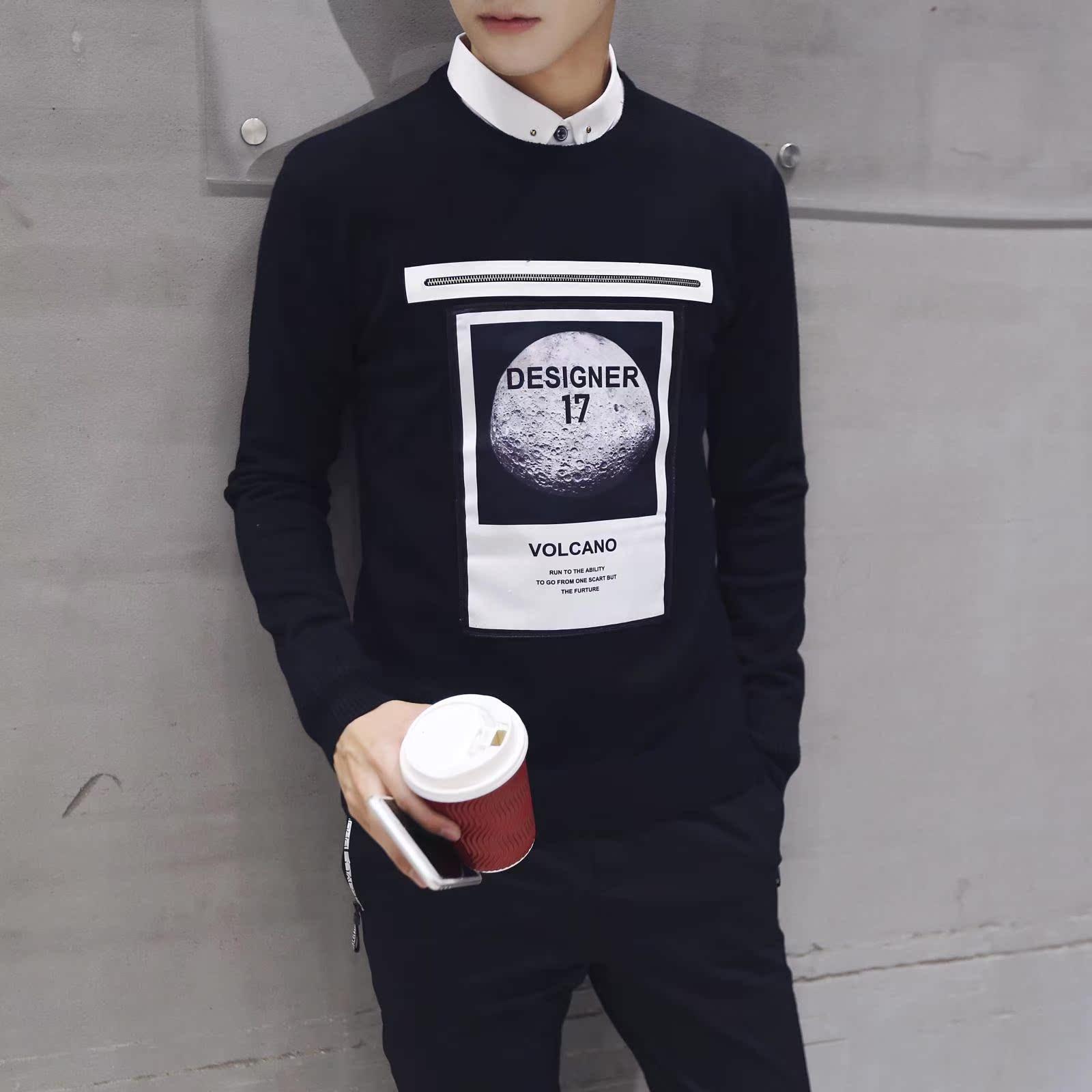 2016新款高领打底衫针织衫撞色毛衣修身加厚保暖男毛衣360M14P58