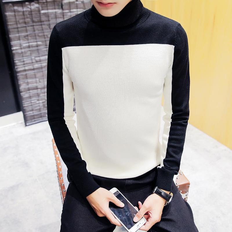 2016新款高领打底衫针织衫撞色毛衣修身加厚保暖男毛衣360M02P48