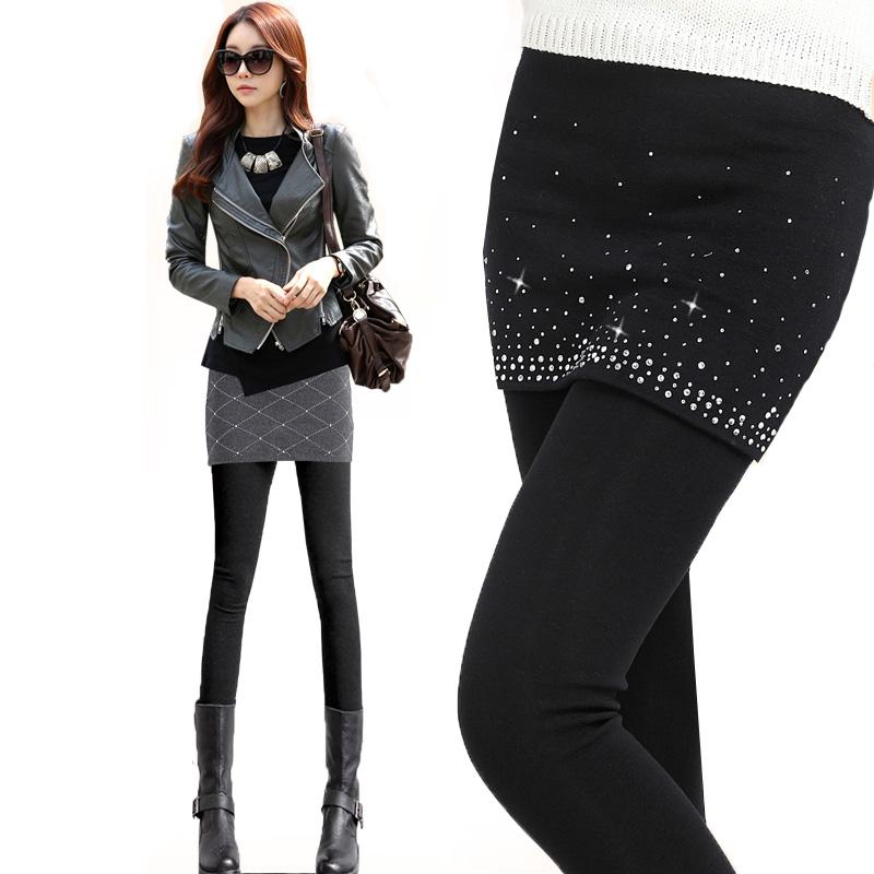 Корейская версия плюс размер женщин 's плюс ватки хлопка два куска безногий юбка-брюки бурение горячие ноги леггинсы осенью и зимой толстые