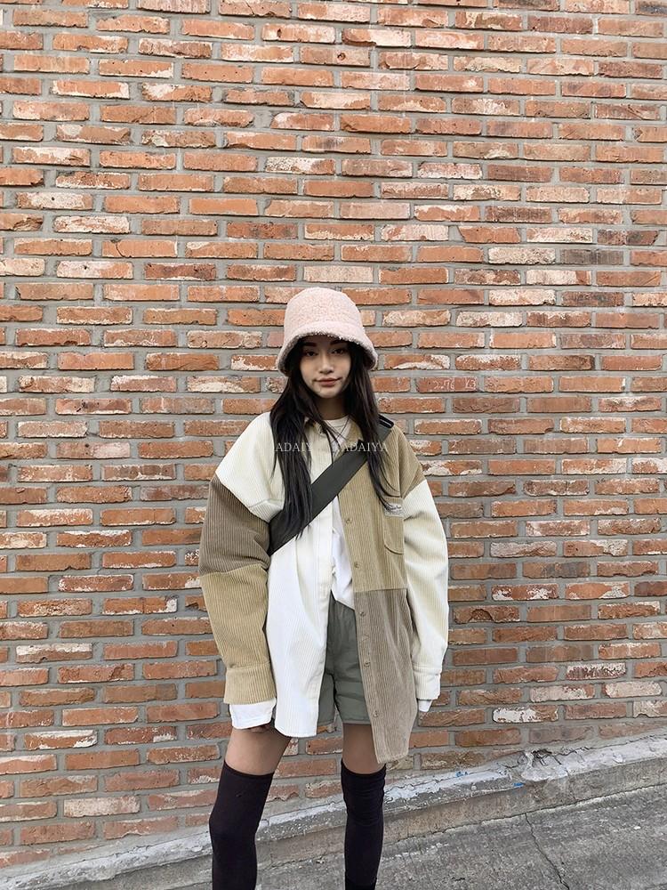 KADAIYA stylenanda   撞色系列 拼色灯芯绒长袖单排扣衬衫