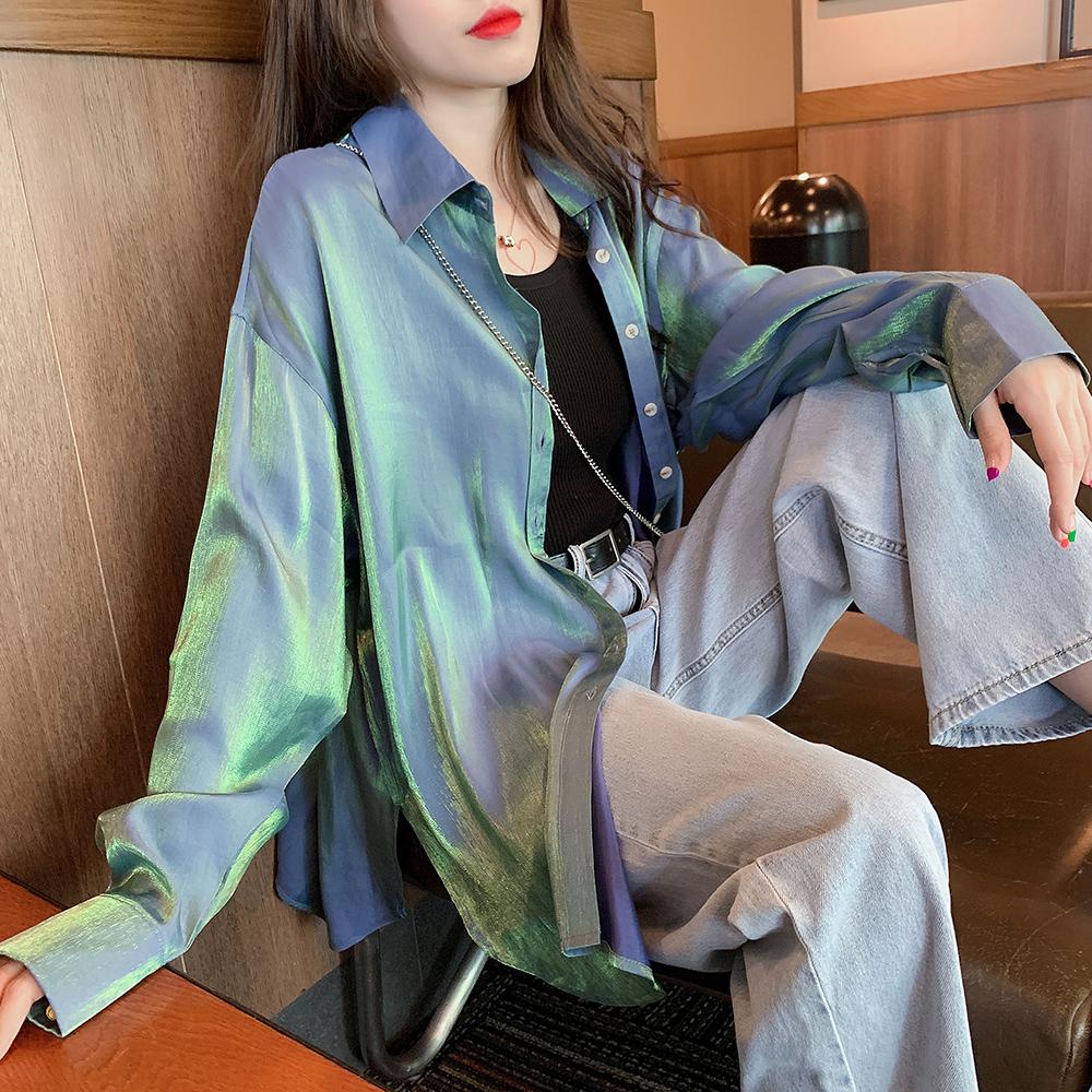 正品保证Q3705-2019早秋新款女装人鱼姬偏光bling宽松防晒长袖衬衫0722