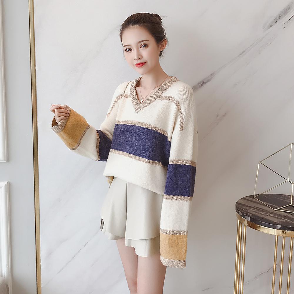 A9191-2018秋新款女装韩版V领亮丝条纹慵懒风宽松套头毛衣 0917