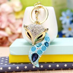 韩国创意礼品可爱水钻水晶小狐狸汽车钥匙扣女包挂件钥匙链圈饰品