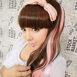Nuoqi Harajuku pear volume horsetail horsetail Velcro temperature gradient winding wire cos wig ponytail