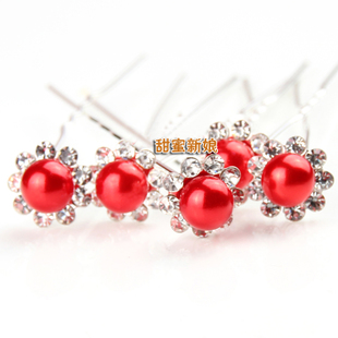 Bridal headdress head flower hair accessories costume cheongsam red wedding dress accessories wedding jewelry hairpin plate made necessary