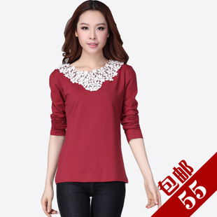 Specials large size women fat mm autumn and winter new Korean version was thin lace long sleeved T shirt bottoming shirt Slim