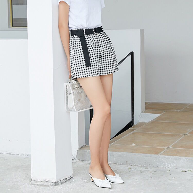 Thousands of birds check shorts belt pocket straight tube show thin casual versatile womens pants second kill clearance