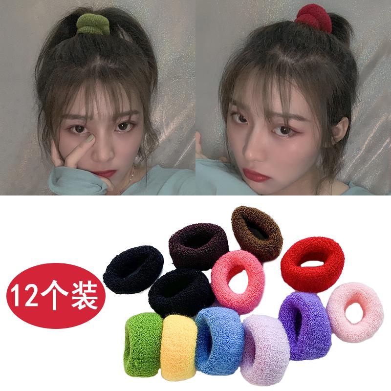 扎头发皮筋韩国针织毛巾发圈加大粗厚发绳仙女彩色超仙少女大号加