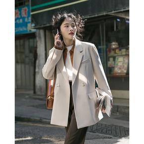 觅定黑色西装外套女夏春秋西服高级休闲炸街韩版小众春季新款粉色
