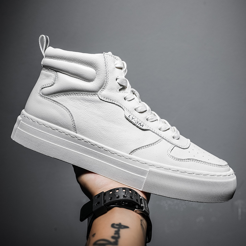 Mens shoes aj1 womens shoes leather board shoes Korean fashion leisure high top small white shoes air force No. 1 mens sports shoes
