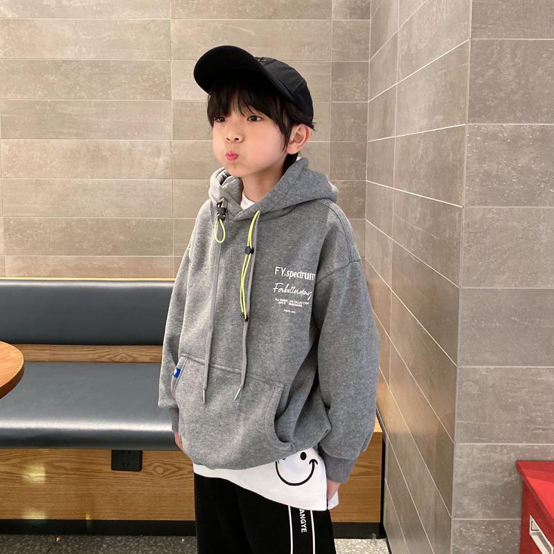 凯文家童装2020冬装新款男童中大童韩版贴布刺绣加绒儿童连帽卫衣