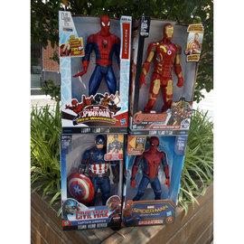 儿童节漫威蜘蛛侠钢铁侠美国队长发声手办可动人偶公仔玩具模型图片