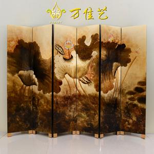 荷花屏风 手绘漆画折叠隔断 新中式仿古典彩绘折屏酒店金箔装饰画