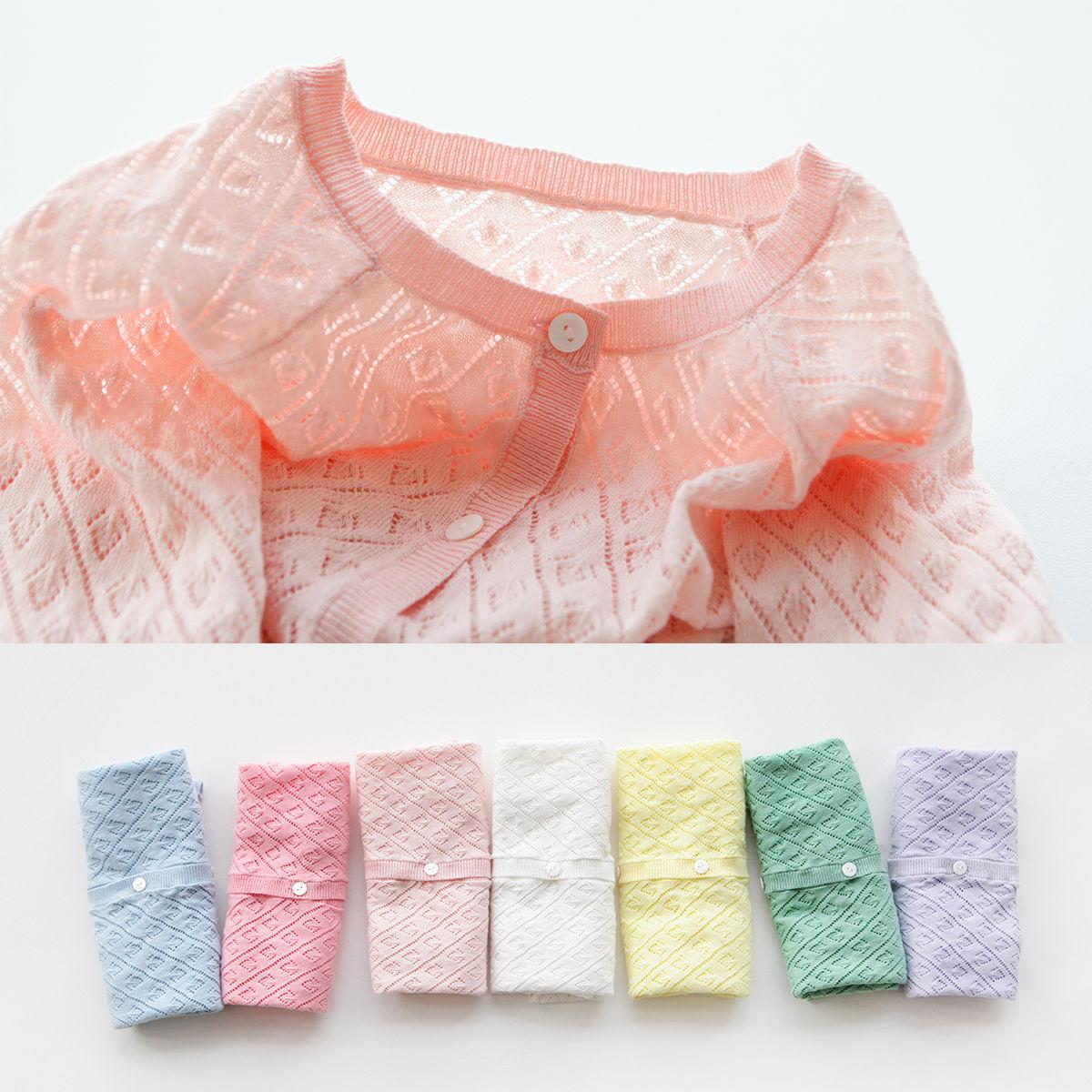 女童防晒衣外套长袖2018夏季新款儿童针织开衫薄纯棉女宝宝空调衫