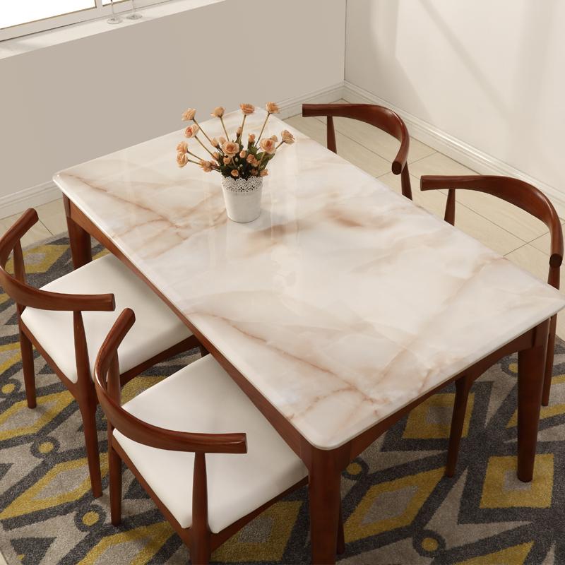 餐桌椅组合大理石餐台实木吃饭桌小户型火烧石简约现代餐厅家具6