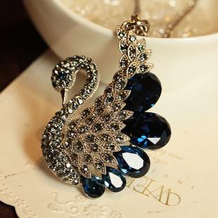 品牌正品奢華天鵝鑽時尚奧地利水晶毛衣鏈長項鍊女秋百搭衣服掛件