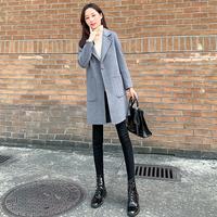 查看毛呢外套2021年新款女时尚中长款韩版春秋小个子修身显瘦呢子大衣价格