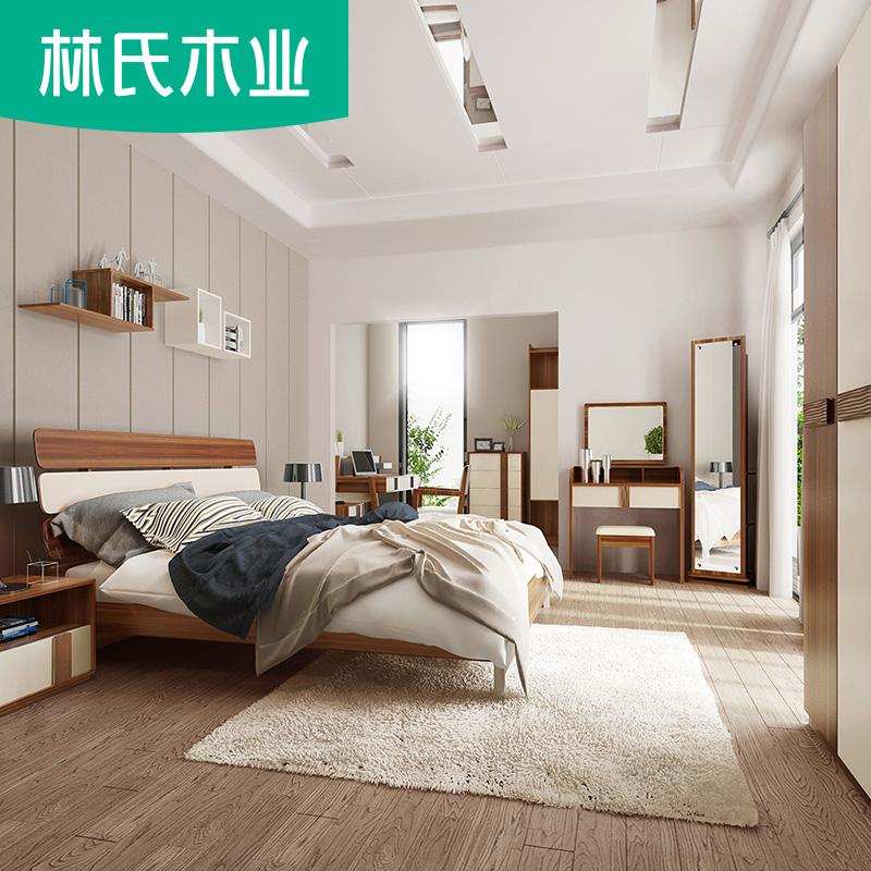 Лес клан дерево промышленность двуспальная кровать простой гардероб комод спальня полный мебель набор комбинации шесть частей CP4A