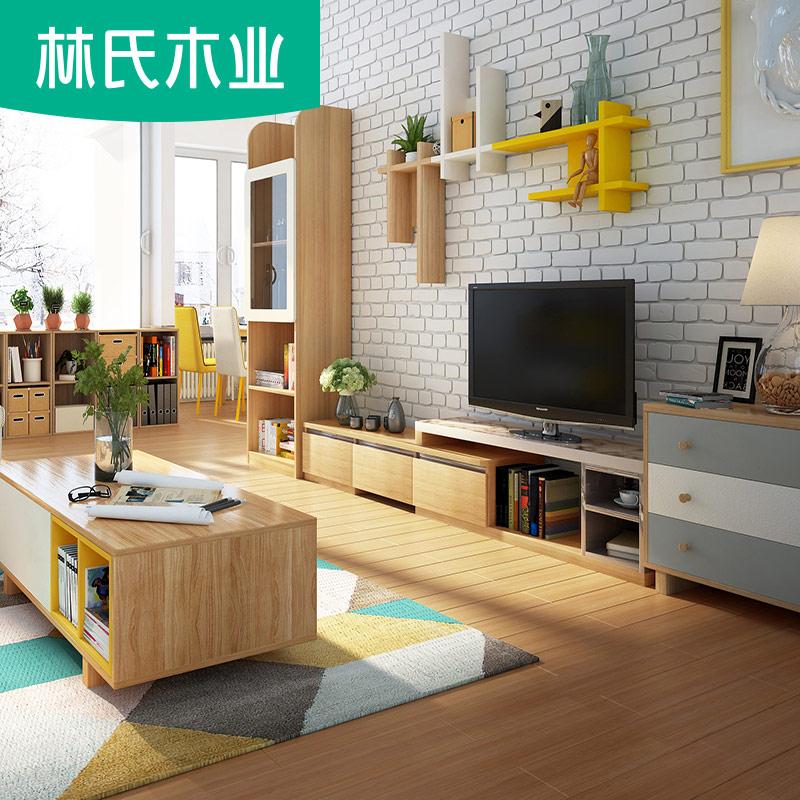 Лес клан дерево промышленность нордический простой журнал винни телевизионный шкаф кофейный столик комплект комбинированный набор гостиная полный мебель BR4M