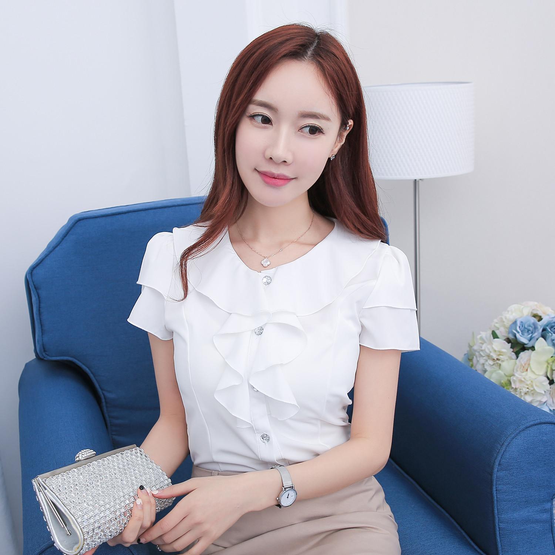 夏季通勤韩版短袖雪纺衫女 圆领花边职业装修身白色衬衫工作服