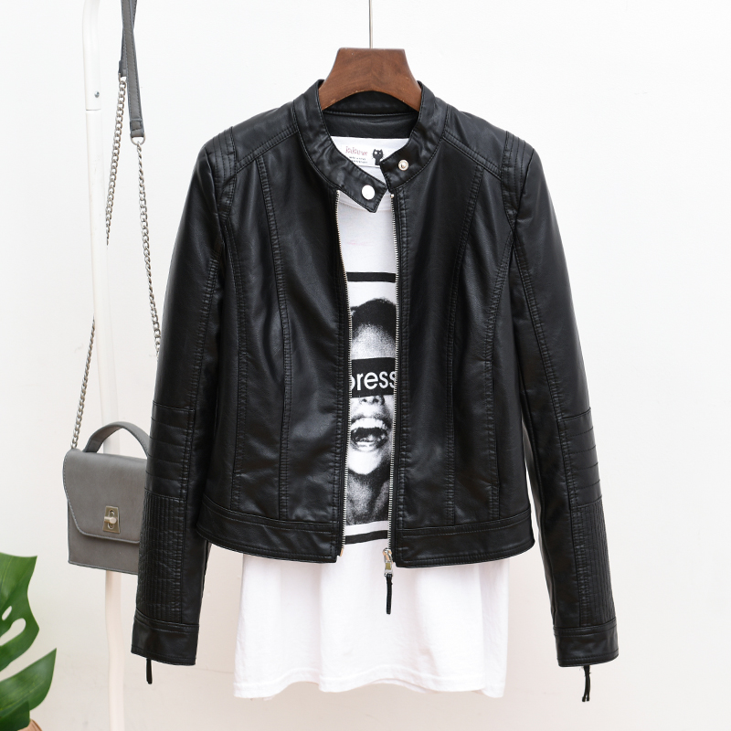 Womens Leather Jacket Womens short 2019 spring and Autumn New Korean version student high waist thin PU leather jacket Motorcycle Jacket
