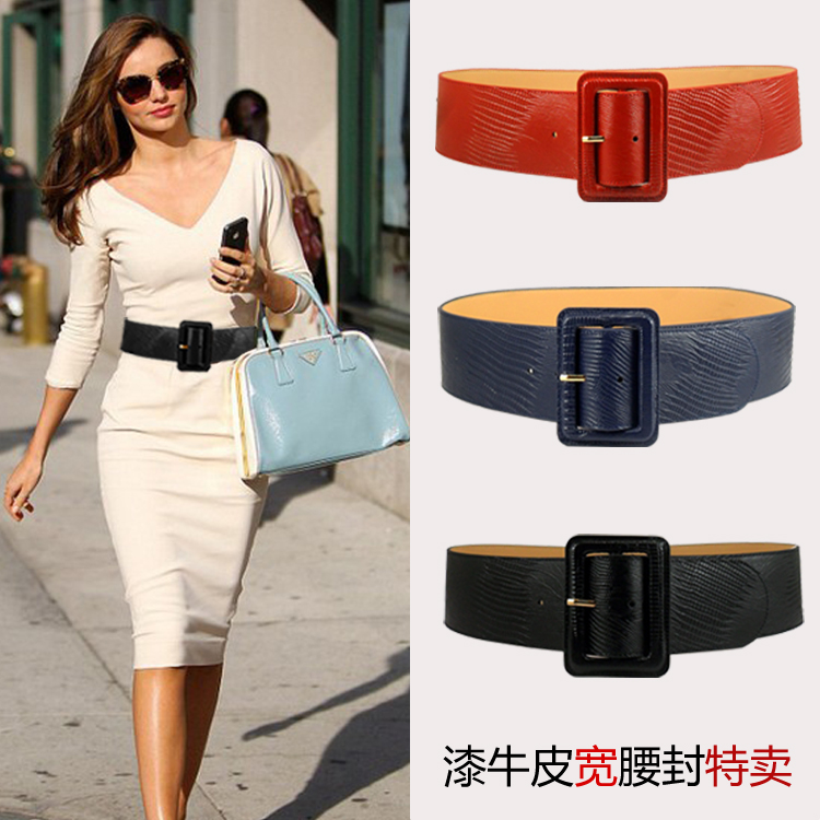 New leather waistband Leather Patent Leather crocodile pattern European and American versatile wide belt womens decorative belt black